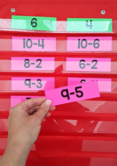 Subtraction facts in wall hanger